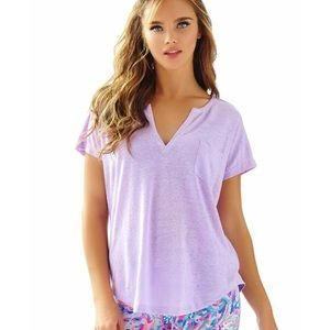 Lilly Pulitzer Duval Top Iced Lilac SZ L